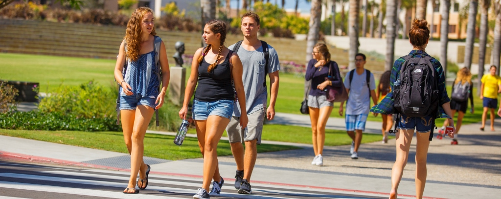 Two students walk to class at Loyola Marymount University.
